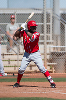 Cincinnati Reds shortstop Alfredo Rodriguez (2) during a Minor League Spring Training game against the Chicago White Sox at the Cincinnati Reds Training Complex on March 28, 2018 in Goodyear, Arizona. (Zachary Lucy/Four Seam Images)