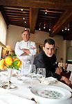 """20081001 - France - Bourgogne - Dijon<br /> JEAN-PIERRE BILLOUX ET SON FILS ALEXIS (LA RELEVE) A LA TETE DU RESTAURANT """"LE PRE AUX CLERCS"""", PLACE DE LA LIBERATION A DIJON.<br /> Ref : BILLOUX_012.jpg - © Philippe Noisette."""
