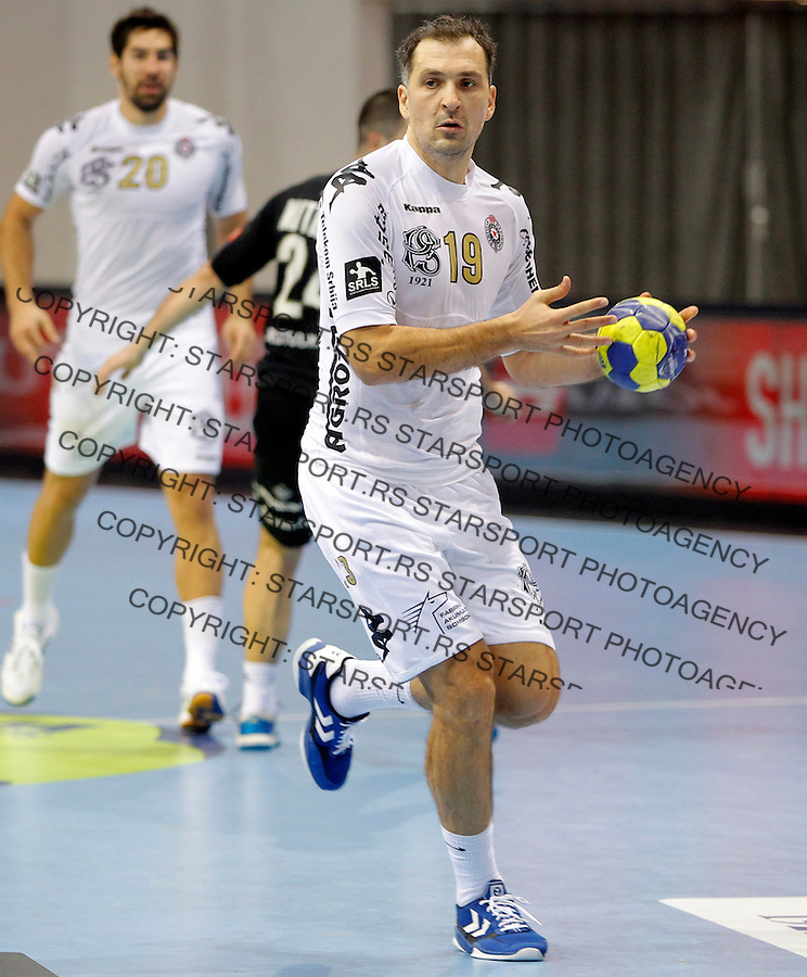 NIS SERBIA 18/11/2012/  Montpellier`s Croatian Metlicic Petar in Partizan Belgrade shirt during Men`s Champions League handball match between Partizan and Montpellier Agglomeration HB in Cair arena in Nis, Southern Serbia on November 18, 2012 (credit: MILOSAVLJEVIC/SIPA)
