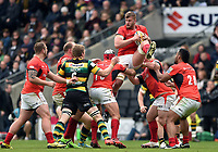 George Kruis of Saracens claims the ball in the air. Aviva Premiership match, between Northampton Saints and Saracens on April 16, 2017 at Stadium mk in Milton Keynes, England. Photo by: Patrick Khachfe / JMP