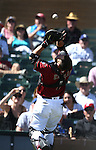 Arizona Diamondbacks&rsquo; Welington Castillo makes a play during a spring training game in Scottsdale, Ariz., on Friday, March 18, 2016. <br />Photo by Cathleen Allison