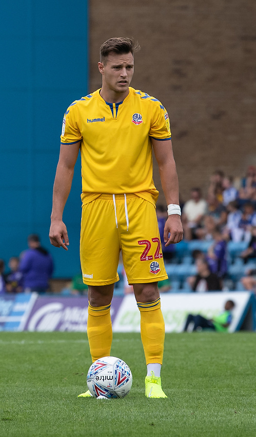 Bolton Wanderers' Dennis Politic preparing to take a free   kick<br /> <br /> Photographer David Horton/CameraSport<br /> <br /> The EFL Sky Bet League One - Gillingham v Bolton Wanderers - Saturday 31st August 2019 - Priestfield Stadium - Gillingham<br /> <br /> World Copyright © 2019 CameraSport. All rights reserved. 43 Linden Ave. Countesthorpe. Leicester. England. LE8 5PG - Tel: +44 (0) 116 277 4147 - admin@camerasport.com - www.camerasport.com