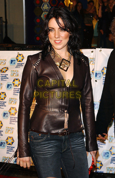 MEL C.melanie chisholm.MTV Europe Music Awards.www.capitalpictures.com.sales@capitalpictures.com.©Capital Pictures.cropped leather jacket, neck scarf, blusher, rouge