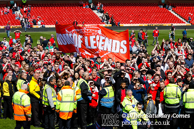 Nottingham Forest 3 Ipswich Town 0, 07/05/2017. City Ground, Championship. Forest fans on the pitch waiting for the Forest players to appear in the directors box, after the game between Nottingham Forest v Ipswich Town at the City Ground Nottingham in the SkyBet Championship. Photo by Paul Thompson.