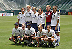 27 June 2004: The starting lineup for the Carolina Courage (with guest players from the Atlanta Beat). Front row (l to r): Maribel Dominguez, Nel Fettig, Charmaine Hooper, Kylie Bivens, Staci Burt. Back row (l to r): Danielle Slaton, Cindy Parlow, Brooke O'Hanley, Tiffany Roberts, Kristen Luckenbill, Sharolta Nonen. The San Diego Spirit defeated the Carolina Courage 2-1 at the Home Depot Center in Carson, CA in Womens United Soccer Association soccer game featuring guest players from other teams.