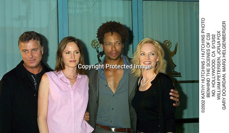 ©2002 KATHY HUTCHINS / HUTCHINS PHOTO.BENHIND THE SCENES OF CSI.NO. HOLLYWOOD, CA  5/13/02.WILLIAM PETERSEN, JORJA FOX.GARY DOURDAN, MARG HELGENBERGER