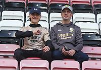 Leeds United fans<br /> <br /> Photographer Stephen White/CameraSport<br /> <br /> The EFL Sky Bet Championship - Wigan Athletic v Leeds United - Saturday 17th August 2019 - DW Stadium - Wigan<br /> <br /> World Copyright © 2019 CameraSport. All rights reserved. 43 Linden Ave. Countesthorpe. Leicester. England. LE8 5PG - Tel: +44 (0) 116 277 4147 - admin@camerasport.com - www.camerasport.com