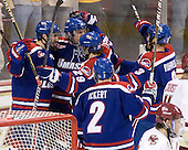 Matt Ferreira (Lowell - 17), Shayne Thompson (Lowell - 23), Derek Arnold (Lowell - 29), Chris Ickert (Lowell - 2) and Chad Ruhwedel (Lowell - 3) celebrate Thompson's goal which opened scoring 7:49 into the first period. - The Boston College Eagles defeated the visiting University of Massachusetts-Lowell River Hawks 5-3 (EN) on Saturday, January 22, 2011, at Conte Forum in Chestnut Hill, Massachusetts.