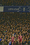 Everton 3 Larissa 1, 25/10/2007. Goodison Park, Europa League Group A. Home fans celebrate their teams second goal as Everton take on AE Larissa (maroon shirts) at Goodison Park, Liverpool in their UEFA Cup Group A match. Everton beat the Greek team by three goals to one on the opening night of group matches in the UEFA Cup. It was the first meeting between the two clubs. Photo by Colin McPherson.