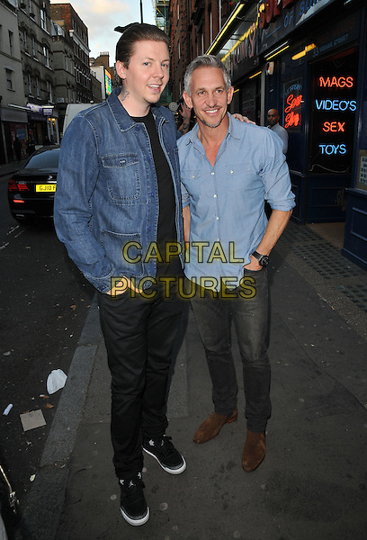 Professor Green ( Stephen Paul Manderson ) &amp; Gary Lineker attend the Professor Green's &quot;Lucky&quot; book launch party, Lights of Soho, Brewer Street, London, England, UK, on Thursday 10 September 2015. <br /> CAP/CAN<br /> &copy;Can Nguyen/Capital Pictures