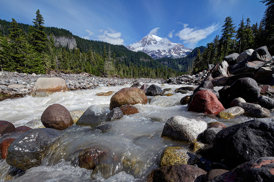 Mount Rainier and the Nisqually River, Paradise, Mount Rainier National Park, Washington