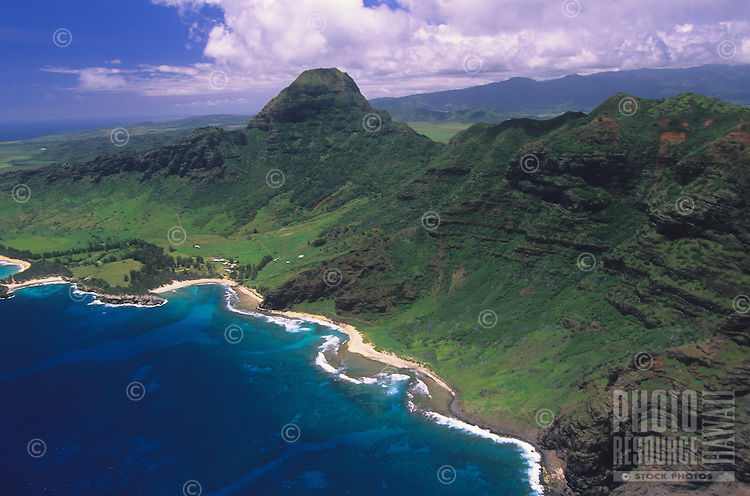 An aerial view of Kipu Kai along the southern Poipu shoreline of Kaua'i.