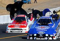 Jul. 27, 2013; Sonoma, CA, USA: NHRA funny car driver Bob Tasca III (left) alongside Robert Hight during qualifying for the Sonoma Nationals at Sonoma Raceway. Mandatory Credit: Mark J. Rebilas-