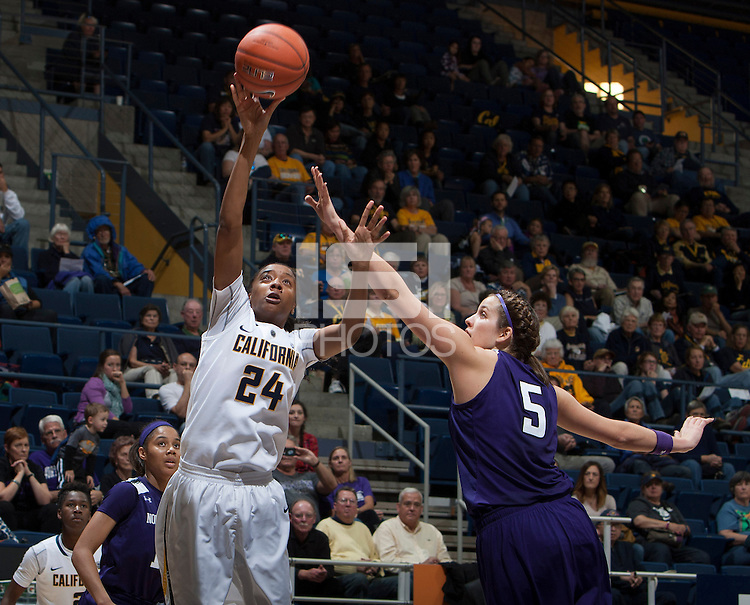 Courtney Range of California shoots the ball during the game against Northwestern at Haas Pavilion in Berkeley, California on November 24th, 2013.  California defeated Northwestern, 65-51.