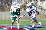 Los Angeles, CA 02/06/16 - Drew Marinelli (Loyola Marymount #22) and Austin Lord (Cal Poly #1)in action during the Cal Poly SLO Mustangs vs Loyola Marymount Lions MCLA Men's Lacrosse game.  Cal Poly defeated LMU 24-5