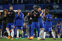 Chelsea players applaud the home fans as they walk around the pitch after the match during Chelsea vs Huddersfield Town, Premier League Football at Stamford Bridge on 9th May 2018