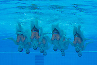 Members of team Japan perform during the free combination routine at the FINA World Junior Artistic Swimming Championships in Budapest, Hungary on July 22, 2018. ATTILA VOLGYI