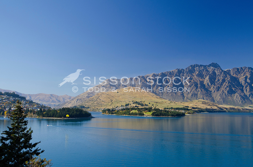 View of the Remarkables and Lake Wakatipu from the road to Glenorchy