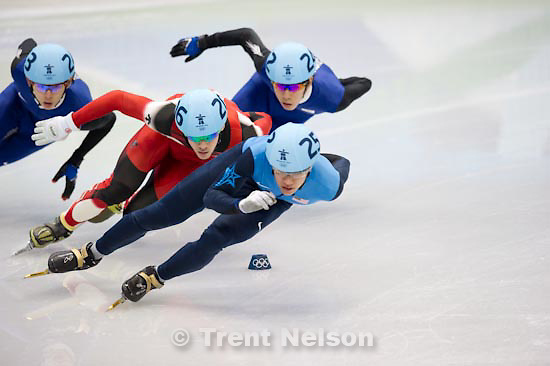 Trent Nelson  |  The Salt Lake Tribune.Mens' 1000m, semifinal 1, Short Track Speed Skating, at the XXI Olympic Winter Games in Vancouver, Saturday, February 20, 2010. Lee Ho-Suk 242, Lee Jung-Su 243, Francois Hamelin 206, J.R. Celski 252