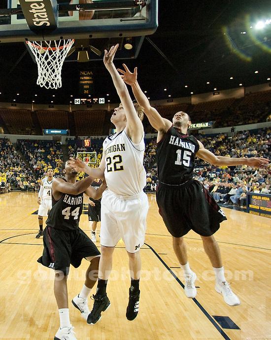 University of Michigan men's basketball 65-62 victory over Harvard at Crisler Arena in Ann Arbor, MI, on December 4, 2010.