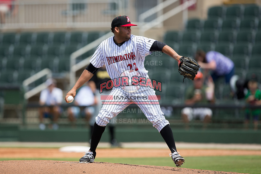 Kelvis Valerio (22) of the Kannapolis Intimidators in action against the West Virginia Power at Kannapolis Intimidators Stadium on June 18, 2017 in Kannapolis, North Carolina.  The Intimidators defeated the Power 5-3 to win the South Atlantic League Northern Division first half title.  It is the first trip to the playoffs for the Intimidators since 2009.  (Brian Westerholt/Four Seam Images)