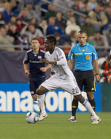 Vancouver Whitecaps FC midfielder Gershon Koffie (28) on the attack. In a Major League Soccer (MLS) match, the New England Revolution defeated the Vancouver Whitecaps FC, 1-0, at Gillette Stadium on May14, 2011.