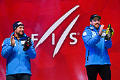 9th February 2019, ARE, Sweden; Aksel Lund Svindal and Kjetil Jansrud of Norway celebrate at the medal ceremony for mens downhilll during the FIS Alpine World Ski Championships on February 9, 2019 in Are.