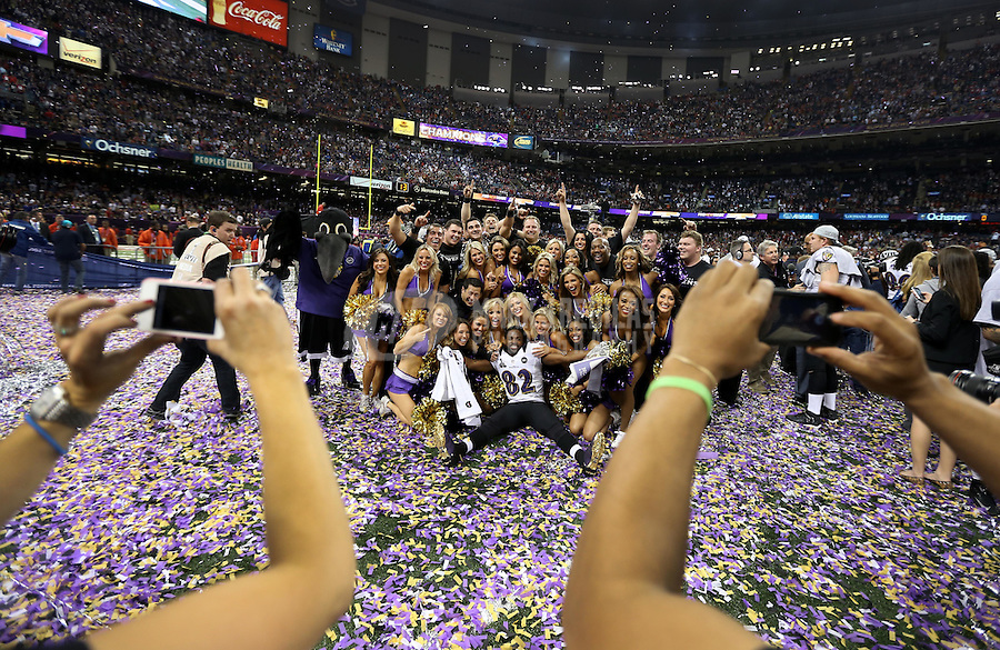 Feb 3, 2013; New Orleans, LA, USA; Baltimore Ravens wide receiver Torrey Smith (82) celebrates with the cheerleaders after defeating the San Francisco 49ers in Super Bowl XLVII at the Mercedes-Benz Superdome. Mandatory Credit: Mark J. Rebilas-