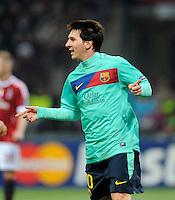 FUSSBALL   CHAMPIONS LEAGUE   SAISON 2011/2012     23.11.2011 AC Mailand - FC Barcelona JUBEL FC Barcelona; Torschuetzen zum 2-1 Fuehrungstreffer Lionel Messi