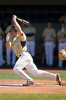 Steven Brooks #1 of the Wake Forest Demon Deacons follows through on his swing versus the Duke Blue Devils at Jack Coombs Field March 29, 2009 in Durham, North Carolina. (Photo by Brian Westerholt / Four Seam Images)