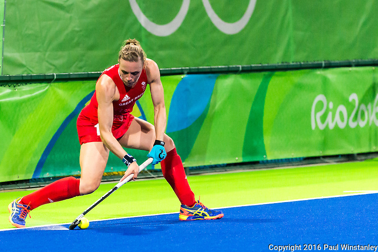 Kate Richardson-Walsh #11 of Great Britain starts the short corner during Netherlands vs Great Britain in the gold medal final at the Rio 2016 Olympics at the Olympic Hockey Centre in Rio de Janeiro, Brazil.