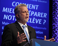 January 2013 File Photo -  Debate between all 3 candidate for leadeship of Quebec Liberal Party :<br /> Pierre Moreau (L)<br /> Philippe Couillard (M), Raymond Bachand (R)
