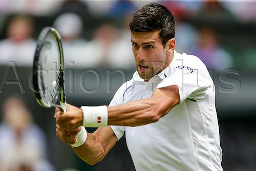 29.06.2015.  Wimbledon, England. The Wimbledon Tennis Championships. Gentlemen's Singles first round match between top seed Novak Djokovic (SRB) & Philipp Kohlschreiber (GER).  Novak Djokovic in action