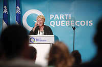 "PQ leader and Quebec Premier Pauline Marois gestures as she speaks at the ""Universite d'ete des jeunes du Parti Quebecois"" event in Quebec City, Sunday August 25, 2013.<br /> <br /> PHOTO :  Francis Vachon - Agence Quebec Presse"