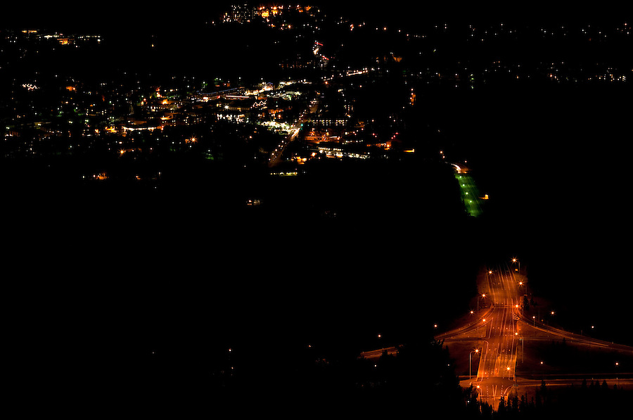 An aerial view of the city of Banff is seen from the Mt. Norquay road  in the evening.