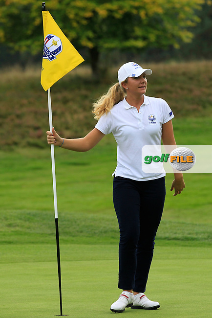 Linnea Strom (SWE) on the 18th hole in the Mixed Fourballs during the 2014 JUNIOR RYDER CUP at the Blairgowrie Golf Club, Perthshire, Scotland. <br /> Picture:  Thos Caffrey / www.golffile.ie