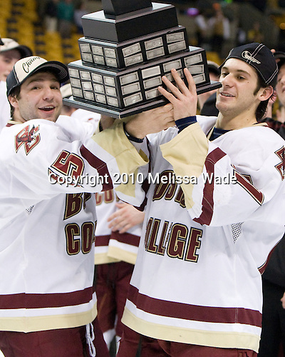 Joe Whitney (BC - 15), Brian Gibbons (BC - 17) - The Boston College Eagles defeated the University of Maine Black Bears 7-6 in overtime to win the Hockey East championship on Saturday, March 20, 2010, at TD Garden in Boston, Massachusetts.