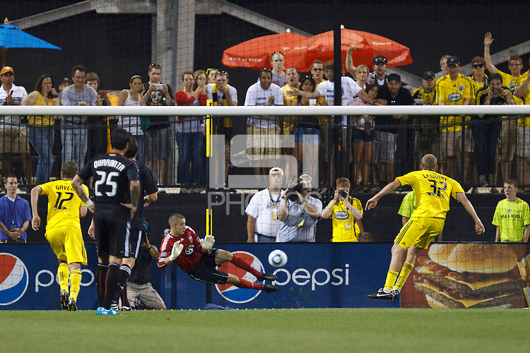 26 JUNE 2010:  Troy Perkins #23 of DC United  makes a save on a Steven Lenhart of the Columbus Crew (32) penalty kick during MLS soccer game between DC United vs Columbus Crew at Crew Stadium in Columbus, Ohio on May 29, 2010. The Crew defeated DC United 2-0.