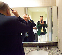 Self portrait with my dad in the men's room of the New Orleans convention center during his tour of Media Row during Super Bowl week in 2012.