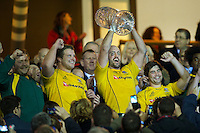 Nathan Sharpe of Australia (centre) celebrates winning the Cook Cup between England and Australia, part of the QBE International series, at Twickenham on Saturday 17th November 2012 (Photo by Rob Munro)