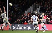 3rd December 2017, Twickenham Stoop, London, England; Aviva Premiership rugby, Harlequins versus Saracens; Calum Clark of Saracens attempts to charge down the kick from Mike Brown of Harlequins