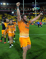 Jaguares' Julian Montoya celebrates winning the Super Rugby match between the Hurricanes and Jaguares at Westpac Stadium in Wellington, New Zealand on Friday, 17 May 2019. Photo: Dave Lintott / lintottphoto.co.nz