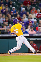 LSU Tigers designated hitter Chris Chinea (26) follows through on his swing during the Houston College Classic against the Nebraska Cornhuskers on March 8, 2015 at Minute Maid Park in Houston, Texas. LSU defeated Nebraska 4-2. (Andrew Woolley/Four Seam Images)