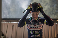 Pieter Vanspeybrouck (BEL/Wanty-Groupe Gobert) prepping for the race in the teambus<br /> <br /> 115th Paris-Roubaix 2017 (1.UWT)<br /> One Day Race: Compiègne › Roubaix (257km)