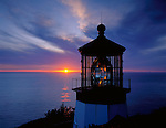 Tillamook County, OR   © Terry Donnelly  /<br /> Cape Meares Lighthouse at sunset - Cape Meares State Park