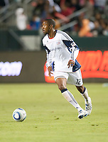 Revolution defender Cory Gibbs (12) looks to pass the ball during the second half of the game between Chivas USA and the New England Revolution at the Home Depot Center in Carson, CA, on September 10, 2010. Chivas USA 2, New England Revolution 0.