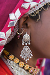 Rajasthani dancer wearing traditional jewelry, Thar Desert, Rajasthan, India --- Model Released