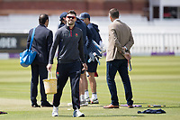 James Anderson of Lancashire CCC with bucket and paintbrush in hand prepares to mark his run during Middlesex vs Lancashire, Royal London One-Day Cup Cricket at Lord's Cricket Ground on 10th May 2019