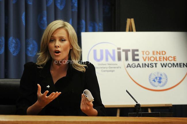 WWW.ACEPIXS.COM . . . . . ....November 17 2008, New York City....Actress Charlize Theron at a press conference following the UN Messenger of Peace induction ceremony at the United Nations on November 17, 2008 in New York City.....Please byline: KRISTIN CALLAHAN - ACEPIXS.COM.. . . . . . ..Ace Pictures, Inc:  ..(646) 769 0430..e-mail: info@acepixs.com..web: http://www.acepixs.com