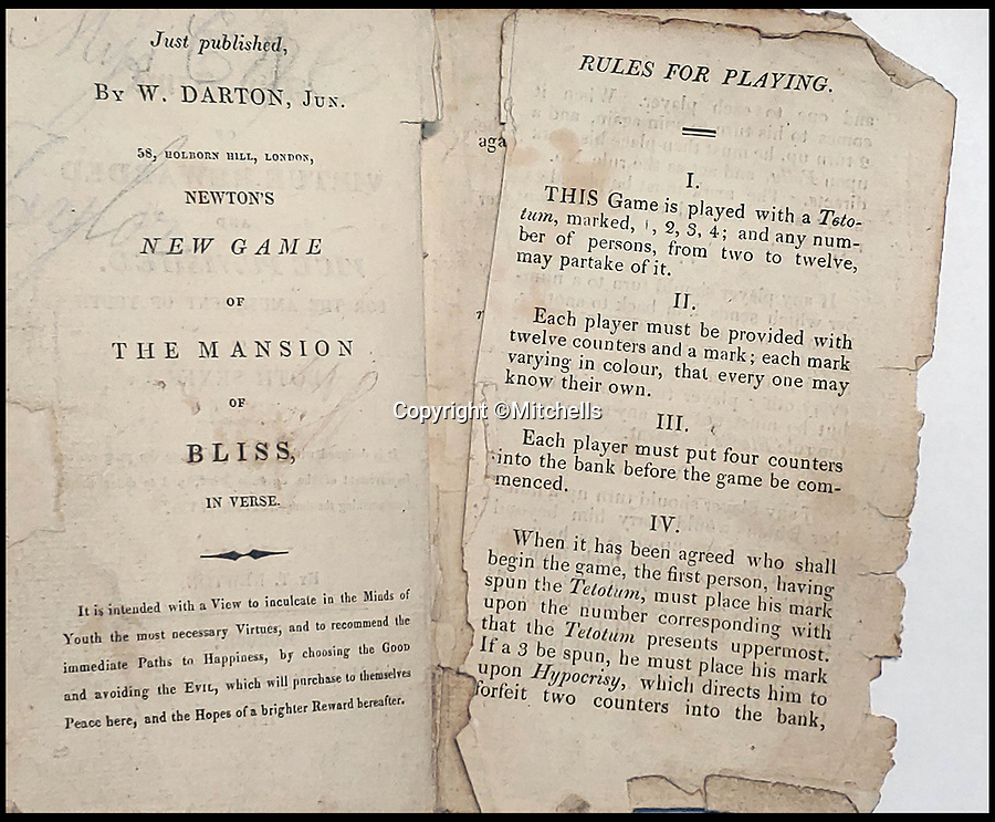 BNPS.co.uk (01202 558833)<br /> Pic:  Mitchells/BNPS<br /> <br /> Instructions on how to play the game.<br /> <br /> A rare example of one of the earliest board games has emerged for sale over 200 years later.<br /> <br /> The copy of 'The New Game of Virtue Rewarded & Vice Punished' was discovered in the bottom of a box during a house clean out in Egremont, west Cumbria.<br /> <br /> The 1818 paper and card game created by Thomas Newton was designed to teach Georgian children 'morality'.<br /> <br /> The roll and move race sees up to 12 players seek to travel from their starting spot, the house of correction, to reach virtue, the 33rd space on the board.